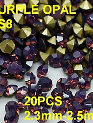 SS8 20pcs/lot 2.3mm-2.5mm Purple Opal Rhinestone For Nail Jewelry Golden Point Back 3D Rhinestones Decoration