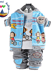 Boy's All Seasons Inelastic Medium Three Pieces Long Sleeve Clothing Sets (Cotton Blends)