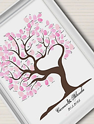 E-HOME® Personalized Fingerprint Painting Canvas Prints - Pink Tree (Includes 12 Ink Colors)No frame Coral Wedding