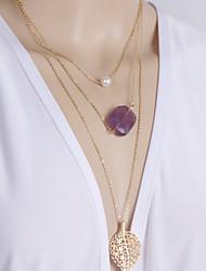 Women's Fashion Pearl Multilayer Metal Leaf Pendant Necklace