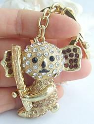 Charming Panda Koala Key Chain With Topaz & Clear Rhinestone Crystals