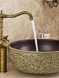 Bathroom Countertop Sink Faucet Dual Handles Basin Mixer Tap Antique Brass
