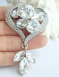 Wedding Accessories Wedding Deco Silver-tone Clear Rhinestone Crystal Love Heart Bridal Brooch Wedding Bouquet