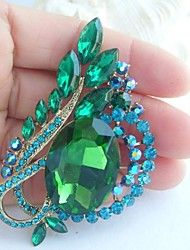 Women Accessories Art Deco Gold-tone Turquoise Green Rhinestone Crystal Flower Brooch Bouquet Crystal Scarf Brooch Pin
