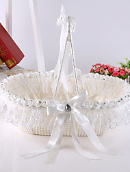 Large Luxury Pearl Bowknot Flower Basket with Rose Crystal Flower Girl Basket