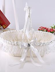 grosse perle de luxe bowknot corbeille de fleurs avec des cristaux de rose fille de fleur panier