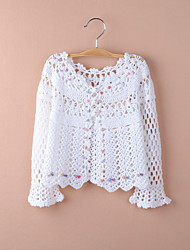 Kids Wraps Long Sleeve Lace/Polyester Party/Casual Cut Out Coats White/Pink Bolero Shrug