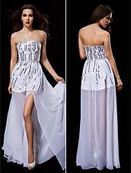 Vestido de Boda - Blanco Corte Columna Hasta el Suelo - Sin Tirantes Gasa