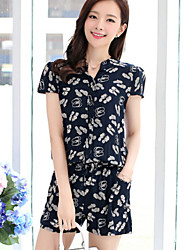 Women's Summer Casual Print Short Sleeve Jumpsuits