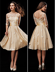 Lanting A-line Petite / Plus Sizes Wedding Dress - Champagne Knee-length Scoop Taffeta / Tulle
