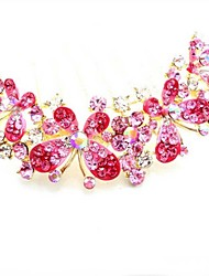 Fashion Rose Alloy Butterfly Hair Comb for Women, Weddding Hair Accessories with Rhinestones for Flower Girls