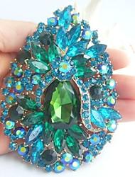 Women Accessories Gold-tone Turquoise Green Rhinestone Crystal Flower Brooch Art Deco Crystal Sash Scarf Brooch Bouquet