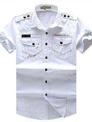 Men's New Fashion Short Sleeve Leisure Cargo Shirt with Wash(100% Cotton)55886