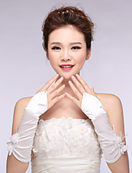 Bridal Gloves Satin Elbow Length Wedding/Party Flower Glove White