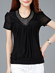Women's Casual/Daily Simple Summer Blouse,Solid V Neck Short Sleeve Blue / Black Silk / Spandex Thin