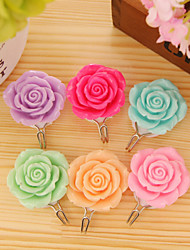 2 PCS Candy Colorful Flower Rose Contemporary Wall Mounted Bathroom Robe Hooks (Random Color)