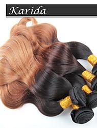 4 пучки 12-26 дюймов объемная волна бразильского Ombre волос ткет цвет 1b / 27 #