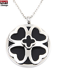 316L Stainless Steel IP Black Pendant with Black Enamel with Steel Chain Necklace for Women