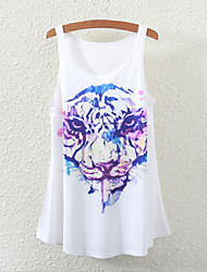 Women's Sleeveless Tiger Graphic Print Vest