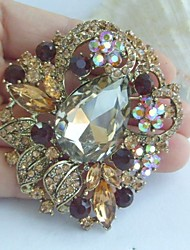 Women Accessories Gold-tone Topaz Rhinestone Crystal Flower Brooch Art Deco Bridal Bouquet Women Jewelry
