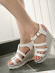Women's Man-made leather Slipsole Heel with Peep-toe Sandals More Color