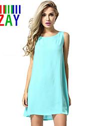 ZAY Women's Casual Back Lace Sleeveless Above Knee Loose  Dress