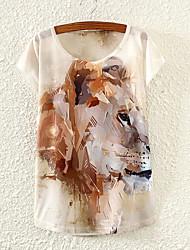 Kortermet T-skjorte Rund hals Bomull/Polyester/Lycra Kvinner