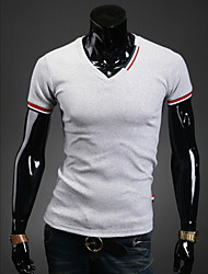 YLG Men's Casual/Party/Work Shirt Collar Short Sleeve T-Shirts (Cotton/Lycra/Polyester)