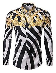Men's High Quality Fashion Designer Brands Striped Slim Long Sleeve Print Shirts