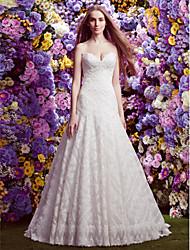 Lan Ting A-line/Princess Wedding Dress - Ivory Sweep/Brush Train Sweetheart Lace