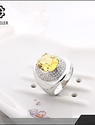 Ring Fashion Party Jewelry Cubic Zirconia / Platinum Plated Women Statement Rings 1pc,One Size Silver