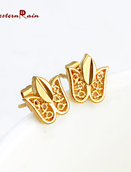 WesternRain Women 2015 New Canadian Maple Leaf Coming 24K Gold Stud Earrings Fashion Cheap Lovely Gold Plated Earrings