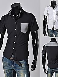 2015 новые мужские рубашки + мужская повседневная Slim Fit стильные рубашки горячие платье, короткий рукав, 2colors: 4 Размер оптовой