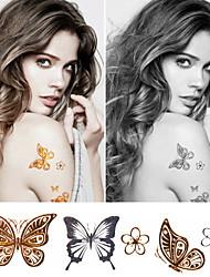 Tatuajes Adhesivos - Non Toxic/Modelo/Parte Lumbar/Waterproof - Series de Animal - Niños/Mujer/Girl/Hombre/Adulto/Boy/Juventud - Dorado -