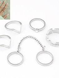 Anéis Diário Jóias Liga Feminino Anéis Meio Dedo 1conjunto,8 Dourado / Prateado