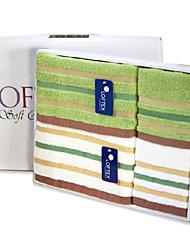 Serviette - Fil teint - en 100% Coton - Hand Towel 34*34cm*2      Wash Towel 34*76cm*2