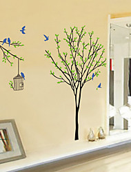 Wall Stickers Wall Decals Style Birds And Bird Cage On The Tree PVC Wall Stickers
