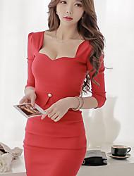 Robe Femme Soirée / Cocktail Sexy,Couleur Pleine Au dessus du genou ½ Manches Rouge Noir Polyester Toutes les Saisons Micro-élastique