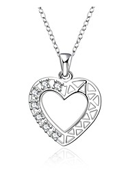 Cremation Jewelry 925 sterling silver Heart Shape with Zircon Pendant Necklace for Women