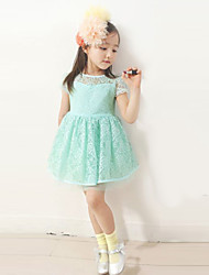 Girl's Summer Micro-elastic Medium Short Sleeve Dresses (Lace)