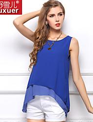 Tee-shirt Aux femmes,Couleur Pleine Décontracté / Quotidien simple Toutes les Saisons Sans Manches Bleu / Blanc / Jaune Translucide