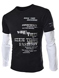 Informeel Rond - MEN - T-shirts ( Katoen/Katoenmengeling/Polyester )met Lange Mouw