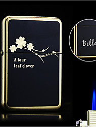 Personalized Gift Plum flower Design Boutique Metal Black Single Flame Butane Lighter