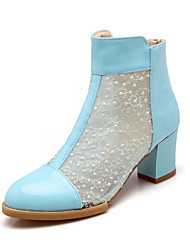 Women's Shoes Tulle/Chunky Heel Heels Pumps/Heels Outdoor/Office & Career/Dress Blue/White/Beige