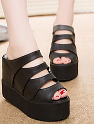 Women's Shoes Wedge Heel Wedges/Peep Toe/Creepers Sandals Casual Black/White