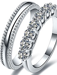 His and Her Jewelry Engagement Sterling Silver Sawtooth Male Ring 7Stones Female Ring Simulate Diamond Platinum Plated
