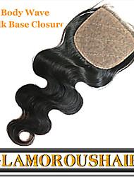 "1Pc/lot 8""-24"" Indian Virgin Hair Natural Color Body Wave 4""X4"" Top Silk Base Closure"