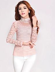 Women's Lace Pink/Black Blouse , Crew Neck Long Sleeve Lace