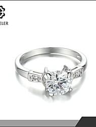 2015 Latest Plating Platinum Zircon Wedding Ring
