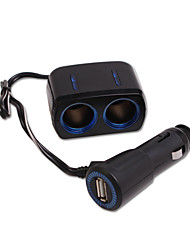 SHUNWEI® Car Cigarette Lighter Electronics Universal 1-to-2 Power Socket 1 USB Charger